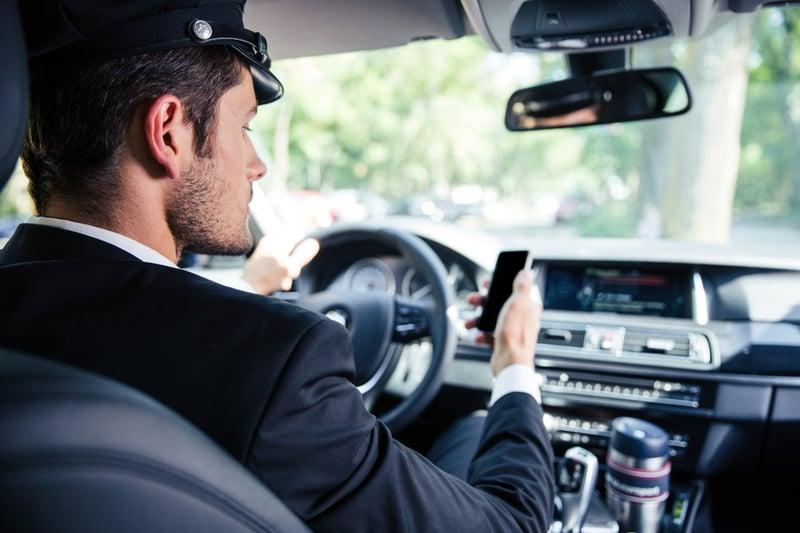 Portrait of chauffeur driving car
